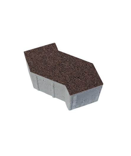 Тротуарная плитка S-Форма Гранит, коричневый, 100 мм