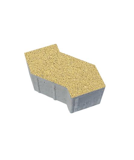 Тротуарная плитка S-Форма Гранит плюс, желтый с черным, 100 мм