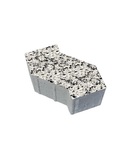 Тротуарная плитка S-Форма Стоунмикс бело-черный, 100 мм