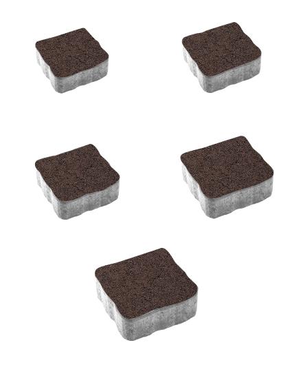 Тротуарная плитка Антик Гранит, коричневый, 60 мм