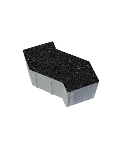 Тротуарная плитка S-Форма Стоунмикс черный, 100 мм
