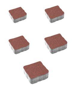 Тротуарная плитка Антик Гранит, красный, 60 мм