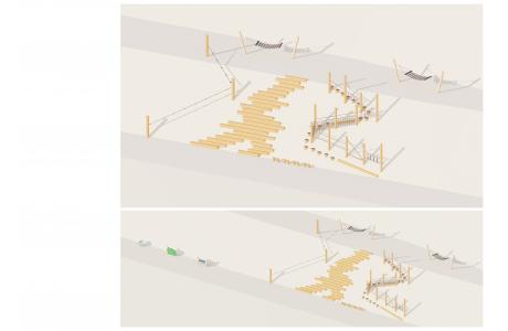 Конструкция из бревен с  канатами К-001